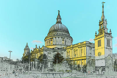 Wren Digital Art - Winter Sun St Paul's Poster  by Gary Eason