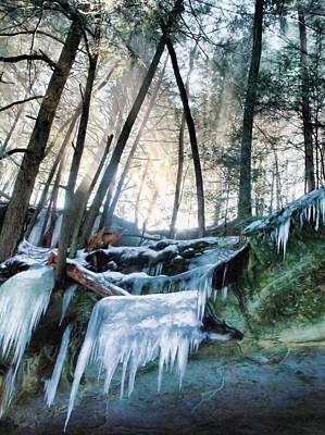 Winter Sunrise In Hocking Hills State Park Print by Dan Sproul