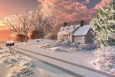 Winter Sunrise Print by Mary Almond
