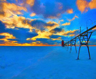 Lake Michigan Mixed Media - Winter Sunset At Saint Joseph Michigan by Dan Sproul