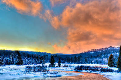 Sunset At The Bridge Photograph - Winter Sunset At The Green Bridge by David Patterson
