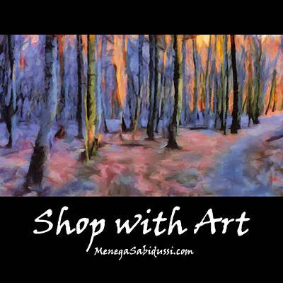 Abstract Painting - Tote - Winter Sunset In The Beech Wood - Shop With Art by Menega Sabidussi