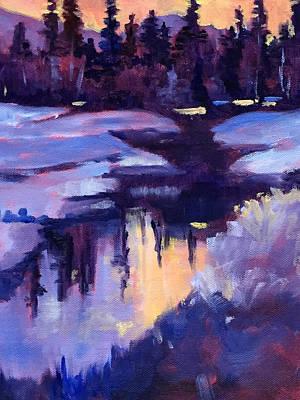 Prairie Sunset Painting - Winter Sunset by Nancy Merkle