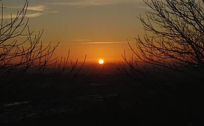 Winter Sunset Over Hednesford Print by Adrian Wale