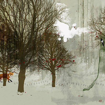 Magpies Digital Art - Winter Tails by Mejji Jackson Smith