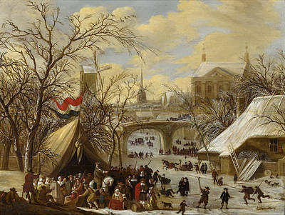 Painting - Winter Townscape With A Military Encampment And Figures Skating On The Frozen River by Gerrit Battem