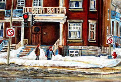 Quebec Streets Painting - Winter Walk In The City Montreal Snowy Streets Westmount Street Scene Canadian Art Carole Spandau by Carole Spandau