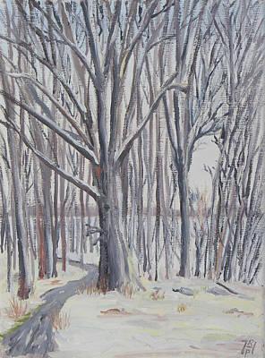 Nature Center Painting - Winter Walk by Robert P Hedden