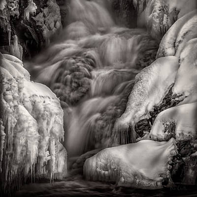 Androscoggin River Photograph - Winter Waterfall Snow And Ice by Bob Orsillo