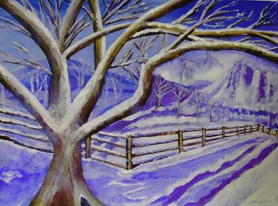 Snowscape Painting - Winter Wonder by Shelley Bain