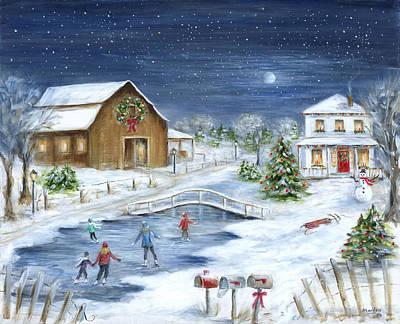 Snow . Bridge Painting - Winter Wonderland by Marilyn Dunlap