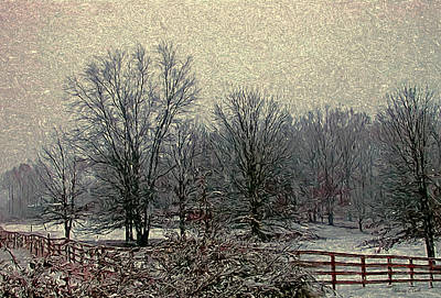Snowed Trees Mixed Media - Winter's First Snowfall by Bellesouth Studio
