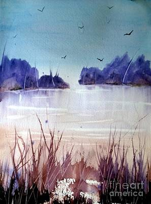 Wet Into Wet Watercolor Painting - Winter's Kiss by Eunice Miller
