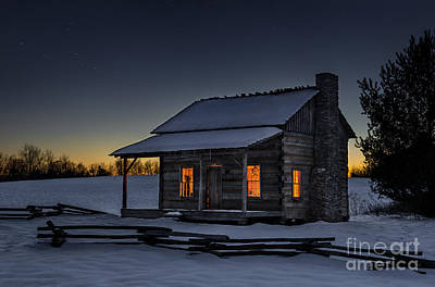 Log Cabin Photograph - Winters Refuge by Anthony Heflin