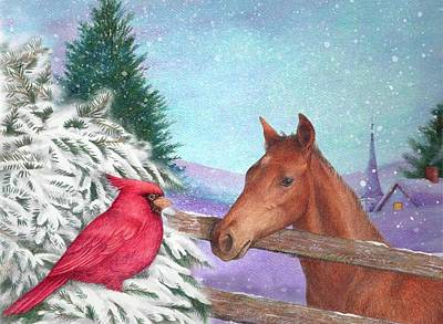 Cardinals In Watercolor Painting - Winterscape With Horse And Cardinal by Judith Cheng
