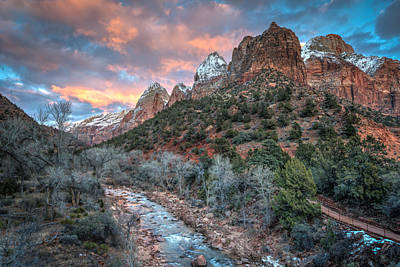 Wintery Sunset At Zion National Park Print by James Udall