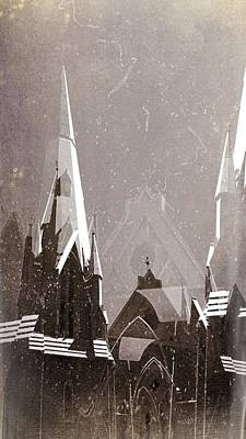 Wintry Church Print by AlyZen Moonshadow