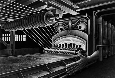 Boris Drawing - Wire Hell Fire by Boris Artzybasheff