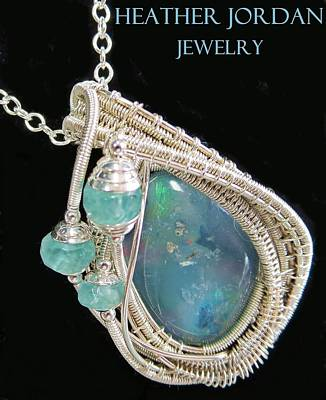 Sterling Silver Wrapped Pendant Jewelry - Wire-wrapped Australian Opal Pendant In Sterling Silver With Blue Apatite Abopss3 by Heather Jordan