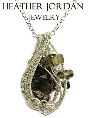 Sterling Silver Jewelry - Wire-wrapped Seymchan Pallasite Meteorite Pendant In Sterling Silver With Green Tourmaline Crystals  by Heather Jordan