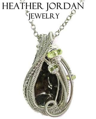 Vaseline Glass Jewelry - Wire-wrapped Seymchan Pallasite Meteorite Pendant In Sterling Silver With Uranium Vaseline Glass by Heather Jordan