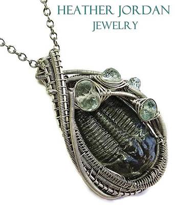 Sterling Silver Wrapped Pendant Jewelry - Wire-wrapped Trilobite Fossil Pendant In Antiqued Sterling Silver With Aquamarine Trilss8 by Heather Jordan