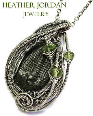 Sterling Silver Wrapped Pendant Jewelry - Wire-wrapped Trilobite Fossil Pendant In Antiqued Sterling Silver With Peridot Trilss9 by Heather Jordan