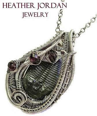 Sterling Silver Wrapped Pendant Jewelry - Wire-wrapped Trilobite Fossil Pendant In Antiqued Sterling Silver With Rhodolite Garnet Trilss7 by Heather Jordan
