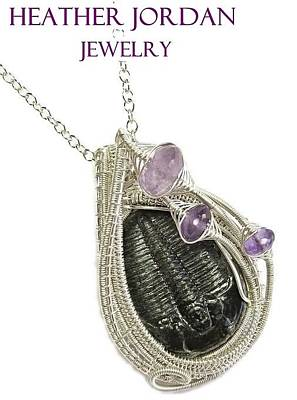 Sterling Silver Wrapped Pendant Jewelry - Wire-wrapped Trilobite Fossil Pendant In Sterling Silver With Amethyst Trilss10 by Heather Jordan