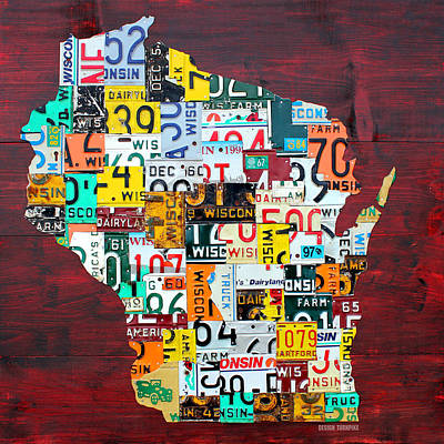 Wisconsin Counties Vintage Recycled License Plate Map Art On Red Barn Wood Print by Design Turnpike