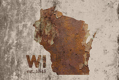 Wisconsin State Map Industrial Rusted Metal On Cement Wall With Founding Date Series 006 Print by Design Turnpike