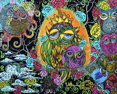 Owls Painting - Wisdom Tree by Laura Barbosa