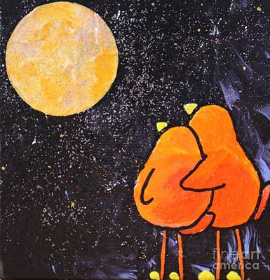 Limbbirds Painting - Wish On The Moon by LimbBirds Whimsical Birds