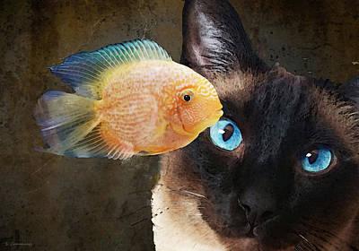Humor. Painting - Wishful Thinking 2 - Siamese Cat Art - Sharon Cummings by Sharon Cummings