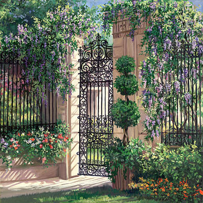 Garden Gates Painting - Wisteria Gate by Laurie Hein