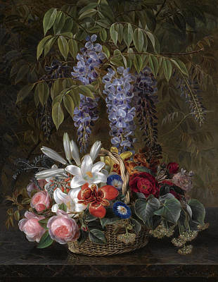 Painting - Wisteria With Roses Lilies And Summer Flowers In A Basket by Johan Laurentz Jensen