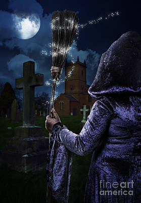 Grave Photograph - Witch And Her Broomstick by Amanda And Christopher Elwell
