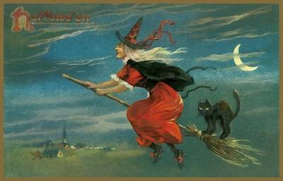 Witch In Red On Her Flying Boom Print by Unknown