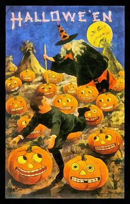 Man In The Moon Photograph - Witch In The Pumpkin Patch by Unknown