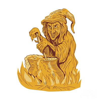 Witch Stirring Brew Pot Drawing Print by Aloysius Patrimonio