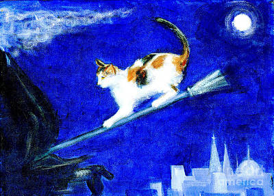 Witch Cat Painting - Witch Way Did She Go by Doris Blessington
