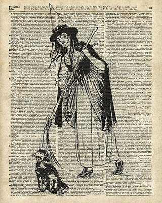 Witch With Broom And Cat Haloowen Party Decoration Gift In Vintage Style Print by Jacob Kuch