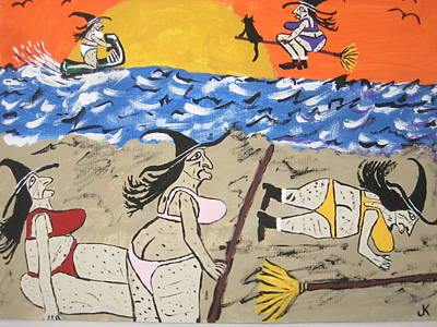 Witch Cat Painting - Witches Day At The Beach by Jeffrey Koss