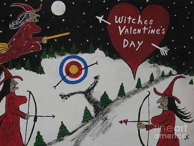 Witches Valentine's Day Print by Jeffrey Koss