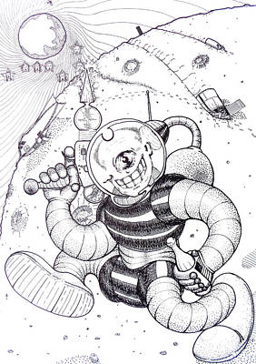 Cyclops Drawing - Spaceman With A Soda And A Stargun Original Black And White Pen Art By Rune Larsen by Rune Larsen
