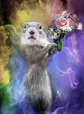 Squirrel Mixed Media - With Love From Me To You by Georgiana Romanovna