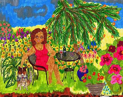 Cattle Dog Drawing - With Rudy In The Garden by Stacey Torres