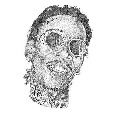 Wiz Drawing - Wiz Khalifa by Marcus Price