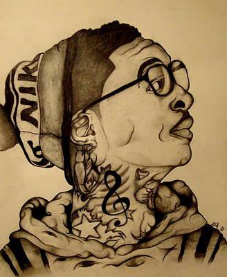 Wiz Drawing - Wiz Khalifa Portrait 3 by David Smith