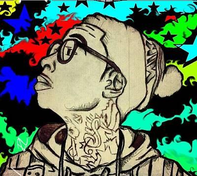 Wiz Drawing - Wiz Khalifa by Randy Louviere